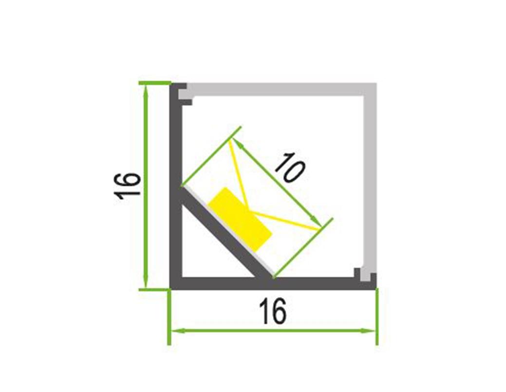 LEDSign hoek profiel Model 1