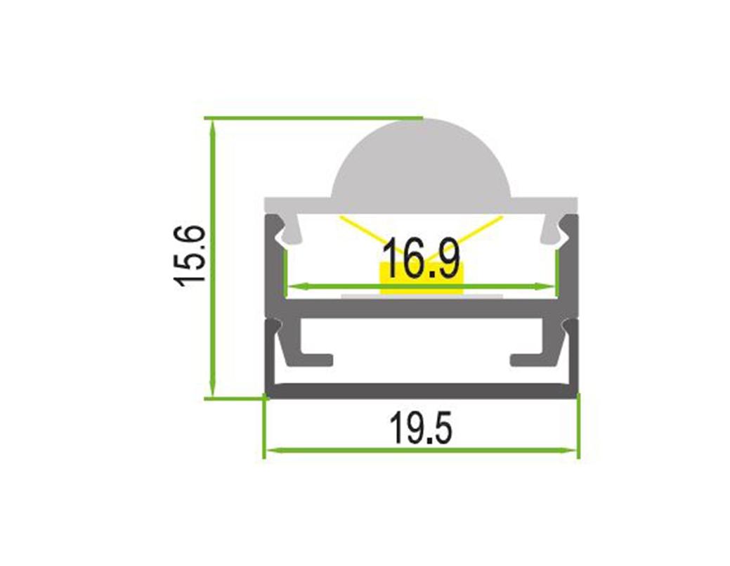 LEDSign Opbouw profielen met lens Model 16