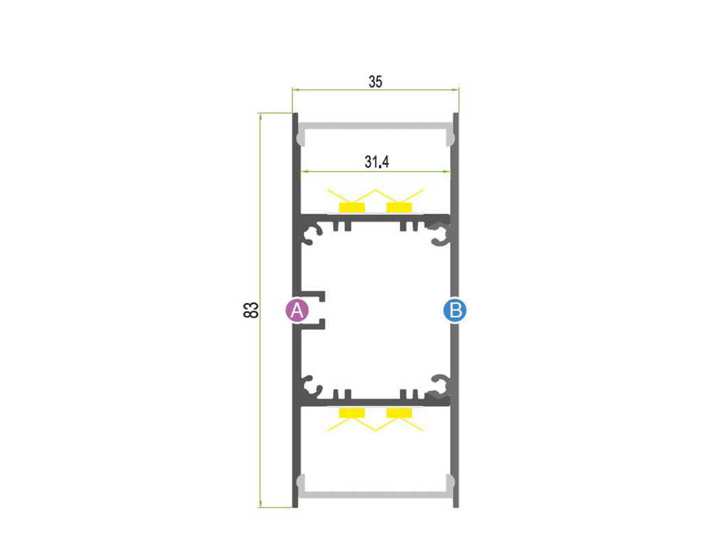 LEDSign Wand opbouw profielen 90